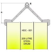 Horizontal Drum Clamp HDC-001 Line Drawing