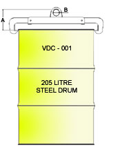 Vertical Drum Clamp VDC-001 Line Drawing
