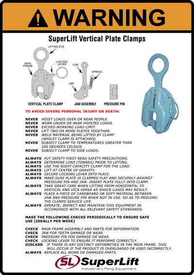 Vertical Plate Clamp Safety Bulletin